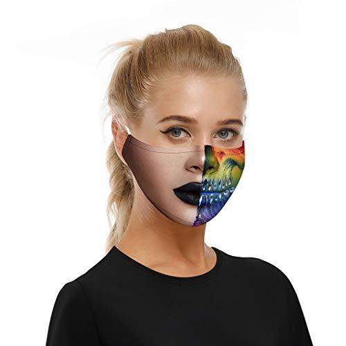 Erwachsene männliche und weibliche Lustige atmungsaktiver Stoff, Wiederverwendbare Outdoor Unisex, Baumwolle Soft für Radfahren Anti-Staub Gesichts (V1, 18×13 cm)