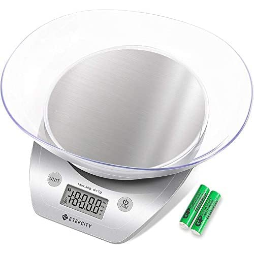 Etekcity Balance de Cuisine Electronique de Haute Précision en Acier Inoxydable, Multi-Fonction, 5kg/11lb, Bol Amovible, Mesure de Liquide (argenté)