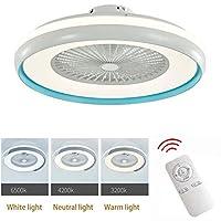 照明付きシーリングファン、調光可能なリモコン付きLEDシーリングランプ、調節可能な風速、寝室のリビングルーム用の32W現代のLEDシーリングライトシャンデリア,F 110v
