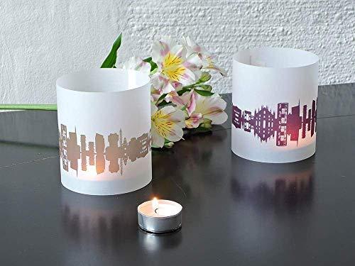 Mailand Skyline Windlicht 2er Set Lichthülle - Tischlicht Geschenk-Idee Deko personalisierbar mit eigenem Namen Text Datum Spruch Botschaft