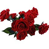 IPOPU 12 Pcs Red Roses Artificial Flowers for Decoration Fake Roses Real Touch Latex Roses Red Silk Roses Bouquet Floral Arrangements for Home Decor Wedding Bridal Bouquet Decorations (Dark Red)