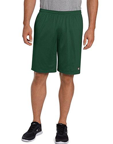 Champion Men's Long Mesh Short with Pockets, Dark Green, Large