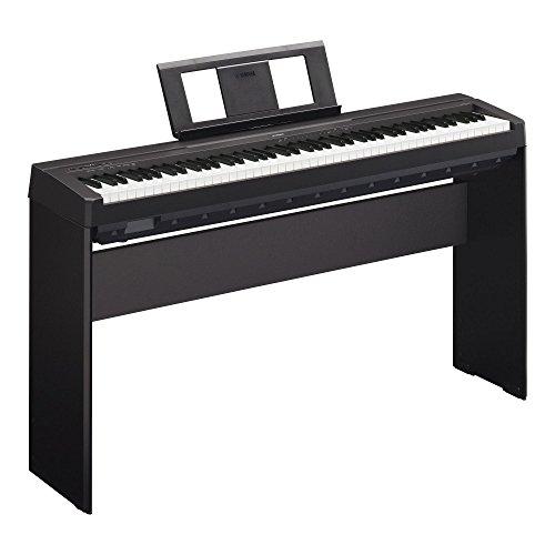 Yamaha P-45B Digitalpiano/Stagepiano SET inkl. Homeständer (88 Tasten, max. Polyphonie: 64 Stimmen, 10 Voices, 4 Reverb Effekte, 2 x 6 Watt Verstärker, 6 Watt, Auto Power Off, Stativ) schwarz