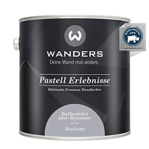 Wanders24® Pastell Erlebnisse (2,5 Liter, Horizont) edelmatte Wandfarbe - Feine Farben - in 40 Farbtönen - Wandfarbe Grau - Made in Germany