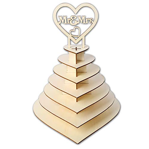 QLPXY Wooden Chocolate Stand, Heart Chocolate Candy Display, Personalised Mr & Mrs Heart Shape Chocolate Dessert Candy 3D Holder for Parties, Weddings & Candy Bars?7 Floors?