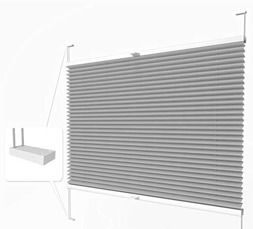 Home-Vision® Premium Plissee zum Anschrauben in der Glasleiste Innenrahmen (Grau, B25cm x H150cm) Blickdicht Plissee Jalousie mit Halterungen zum Bohren, Sonnenschutzrollo Rollo
