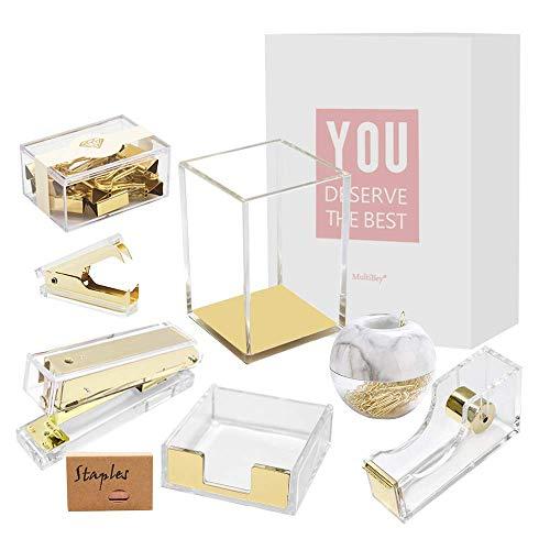 Multibey Gold Acrylic Office Supplies Desk Organizer Set Stapler Tape Dispenser Staples Remover Sticky Note Tray Paper Clip Dispenser Pencil Organization Pen Holder Binder Clips Decor (Clear Gold)
