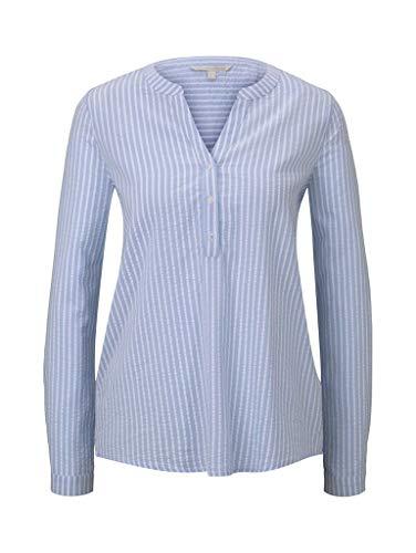 TOM TAILOR Denim Damen Nautic Tunika T-Shirt, 23673-blue White Structure, XL