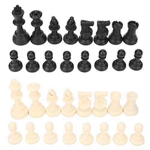 Juego de piezas de ajedrez internacional de 32 piezas Juego de reemplazo de plástico Figuras de ajedrez Torneo estándar Tablero de juego de ajedrez Juguetes de juego Ajedrez Negro blanco con pelusa