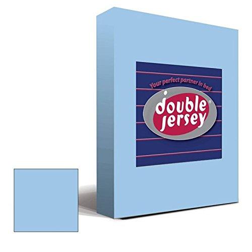 Double Jersey – Spannbettlaken 100% Baumwolle Jersey-Stretch bettlaken, Ultra Weich und Bügelfrei mit bis zu 30cm Stehghöhe, 160x200x30 Himmelblau - 2