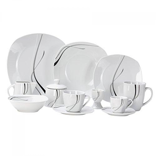 Van Well Kombiservice Silver Night 124-tlg. für 12 Personen, Tafel-Geschirr + Kaffee-Service + Zubehör, Hotelporzellan, abstraktes Linien-Dekor, Gastro