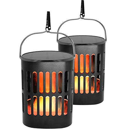 Solar Lantern Lights Outdoor Hanging Decorative -Solar Flame Torch Landscape Pathway 96 Led Waterproof Tabletop Lights Auto On/Off for Path,Camping,Garden,Patio,Deck,Yard