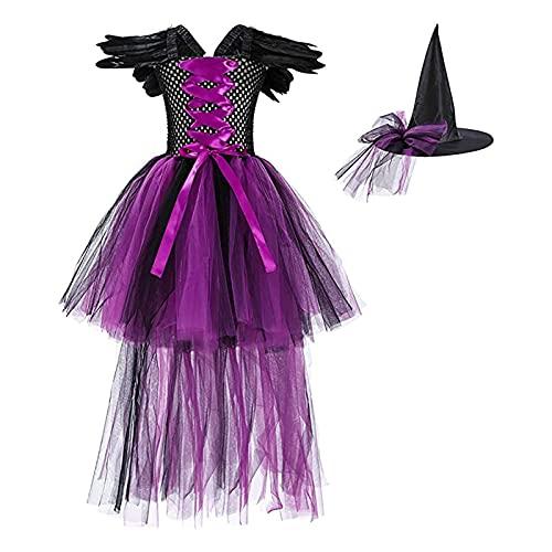 Yokbeer 2PCS Disfraz de Malfica para Nias Disfraz de Bruja Malvada Vestido de Tut de Punto de Princesa + Mangas de Sombrero Cosplay Ceremonia de Navidad Vestido Festivo de Halloween Trajes de Fiest