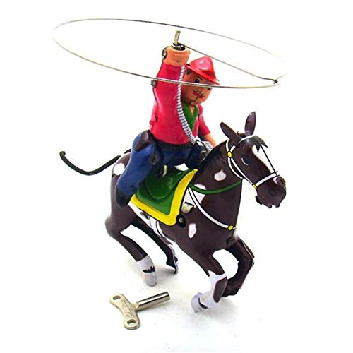 FSLLOVE FANGSHUILIN Juguete clásico de la Vendimia mecánica de Viento de hasta Vaquero Juguetes Niños Fotografía Vaquero de los niños for Adultos Juguetes de hojalata