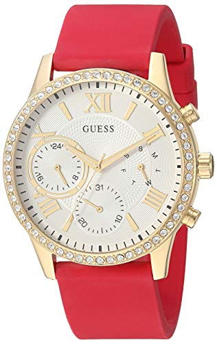 GUESS  Comfortable Gold-Tone + Red Stain Resistant Silicone Watch with Day, Date + 24 Hour Military/Int'l Time. Color: Red (Model: U1135L6)