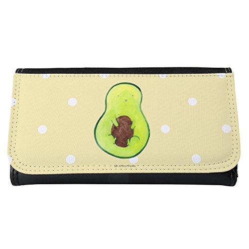 Mr. & Mrs. Panda XXL, Portemonee, Damen Portemonnaie Avocado mit Kern - Farbe Gelb Pastell