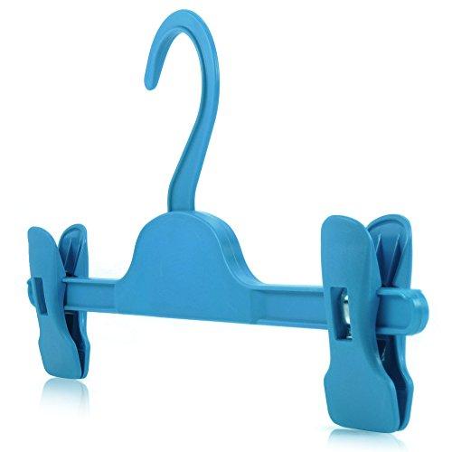 HANGERWORLD 20 Grucce per Bambini 28cm in Plastica Celeste con Pinze Regolabili per Gonne e Pantaloni