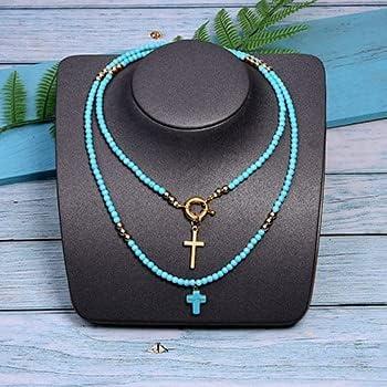 TonyJameJPStore 85cm Long Cross Pendant Necklace for WomenColour Beads Boho Double Layer Statement Femme Choker
