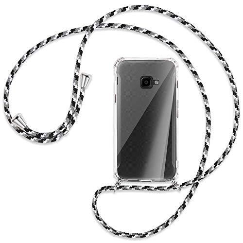 mtb more energy® Handykette kompatibel mit Samsung Galaxy Xcover 4, 4S (SM-G390, G398 / 5.0'') - Camouflage weiß - Smartphone Hülle zum Umhängen - Anti Shock Full TPU Hülle