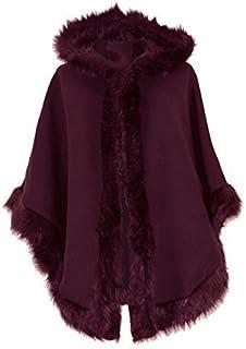 01a5d597dbcc Blush Avenue® Ladies Womens Italian Lagenlook Quirky Layering Hooded Faux  Fur Trim Wool Lana Cape