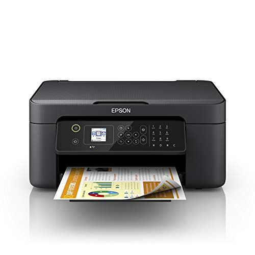 Epson Workforce WF-2810DWF 4-in1-Tintenstrahl-Multifunktionsgerät Drucker (Scannen, Kopieren, Faxen, WiFi, Duplex, Einzelpatronen, DIN A4) Amazon Dash Replenishment, schwarz