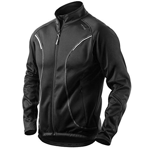Letook Winter Thermal Fleece Cycling Jacket Men Windproof Warm Comfortable Cycle Wear with Reflective for Outdoor Running, Jogger, Riding 100229 M