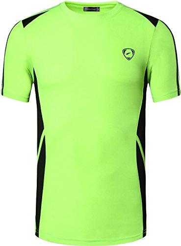 jeansian Herren Sportswear Quick Dry Short Sleeve T-Shirt LSL148_GreenYellow M