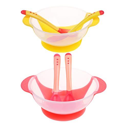 HomeDecTime Tazón de Succión para Bebés Y Niños Sin Derrames Juego de Vajilla 6 Piezas Tazón Cuchara Tenedor Amarillo + Rosa