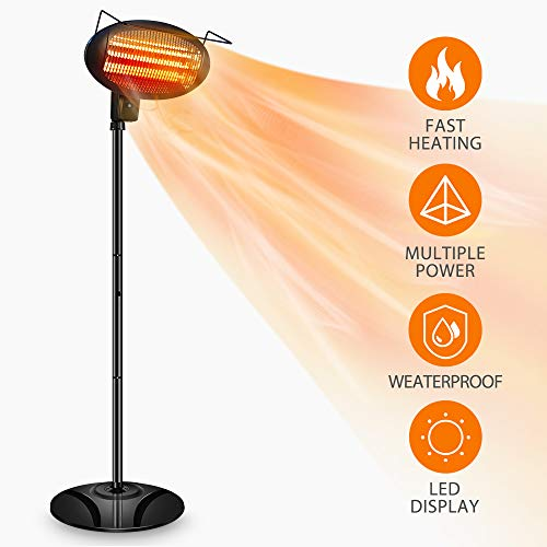 Patio Heater-1500W Outdoor Heater,Outdoor Patio Heater,Outdoor Electric Heater,Infrared Heater,w/3 Power Levels Patio Heater For Overheat Protection,Tip-Over,LED display,Weatherproof,Garage,Garden.