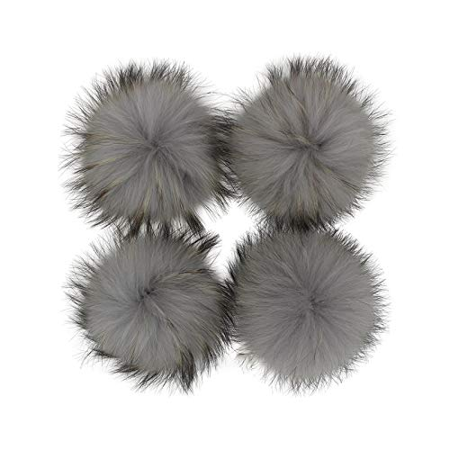 happy-Boutique Grandma Grey Pompom Sewing 5 / 13 cm Pack of 13 cm Fur Pompoms with Off-White Buttons for Knitted Hats, Crochet Hats, Winter Soft Pompom