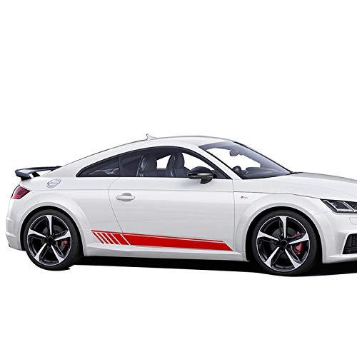 YKANZS Etiqueta engomada de la Falda de la Raya Lateral de la Puerta del Coche 5D calcomanía de Vinilo de Fibra de Carbono, para Audi TT TTS TTRS MK2 8J MK3 8S Accesorios