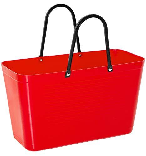 Hinza Kunststofftasche Tasche groß 15 L rot mit Henkel 41,5x44x18cm Kunststoff Shopper Plastik Tragetasche Mehrweg Shoppingbag Einkaufstasche Einkaufskorb BPA-frei stapelbar Swedish Design