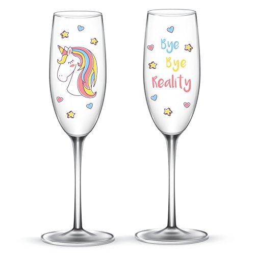 EinhornLiebe® Sektgläser Set Einhorn Glas Bye Bye Reality für Champagner oder Sekt 2 Stück im Geschenk Karton