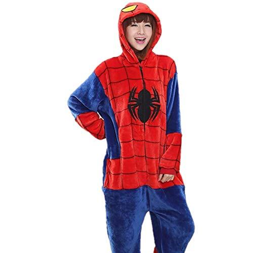 Conjuntos de Pijamas de araña roja para Mujer, Pijamas de Franela con Capucha de Animales, Pijamas de Invierno para Adultos, Pijamas de camisón