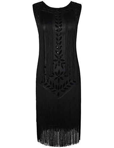 PrettyGuide Women's 1920s Vintage Beaded Fringed Inspired Black Flapper Dress XL Black