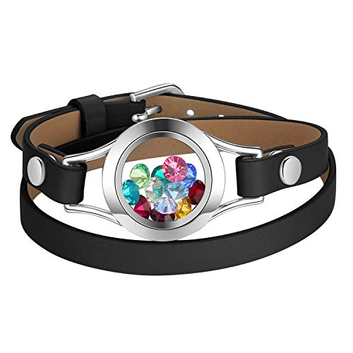 Mesinya Custom Jewelry Floating Memory Charm Glass Locket Bracelet Bangle (Black Leather 1 inch Locket 5.5-7 inches Wrist)