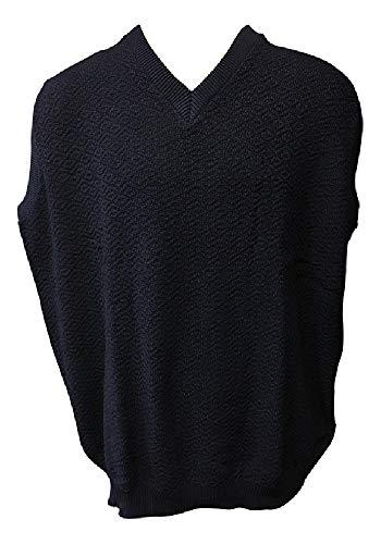 FOXFIRE 100% Cotton Textured Sleeveless Sweater V-Neck Vest (4X, Navy)