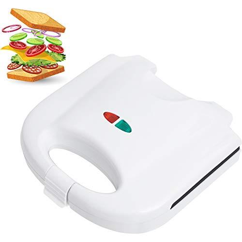 Smartweb Sandwichmaker 850 Watt Sandwichtoaster Campinggrill Antihaftbeschichtete Vegan und Vegetarisch Essen und Kochen abnehmbare Platten Cool Touch Griffe BPA frei Camping Weiss
