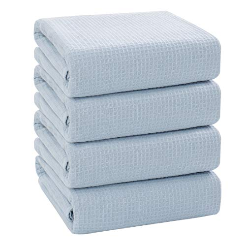 PiccoCasa 100% Cotton Texture Bath Towels - Set of 4, Soft and Thick Absorbent Waffle Weave Towels 27 x 54 Inches Perfect for Daily Use - Spa Blue