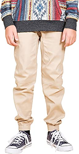 BROOKLYN ATHLETICS Boys' Big Twill Jogger Pants Soft Stretch Slim Fit Trousers, Khaki, Medium