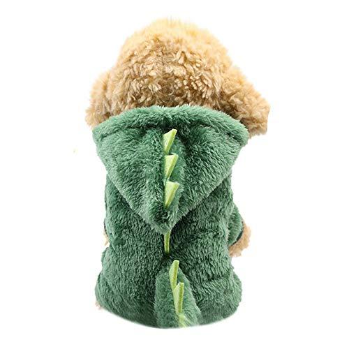 CWYPWDY huisdier kleding groene dinosaurus hond kostuum flanel hond jumpsuits huisdier trainingspakken cosplay huisdier kleding