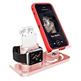 AICase 3 in 1 Dock Supporto per iPhone e A pple iWatch e Airpods, Dock per Caricabatterie Airpods, Supporto Tablet per Desktop per Airpods,iWatch(5/4/3/2/1) (Oro Rosa)