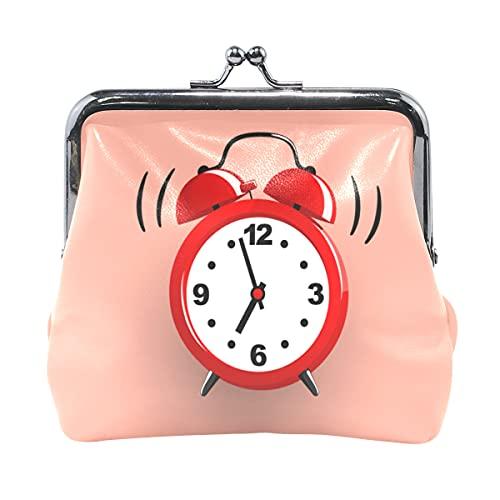 Monedero para Mujer Reloj Despertador Hora de Despertar Monedero pequeño para Mujeres con Cierre de Beso Hombres Monedero para Mujer niña 4.5x4.1 Pulgadas