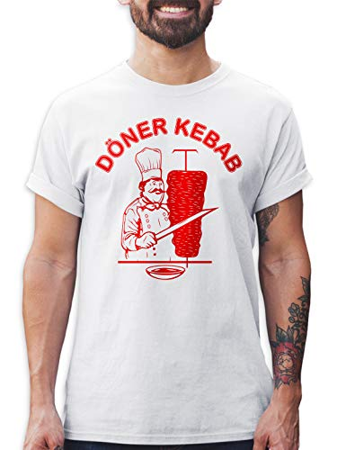 Shirtracer Döner Kebab Herren T-Shirt und Männer Tshirt (Weiß, XXL)
