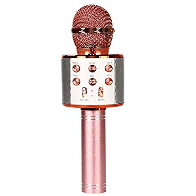 4 in 1 Portable Karaoke Microphone Wireless Bluetooth Handheld Toy Mic Speaker Home KTV Outdoor Party Music Player Recorder USB Charging Compatible with Android IOS Devices for Kids and Adults Pink