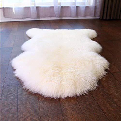 HEQUN Faux Lammfell Schaffell Teppich, Kunstfell Dekofell Lammfellimitat Teppich Longhair Fell Nachahmung Wolle Bettvorleger Sofa Matte (Weiß, 75 X 120 cm)