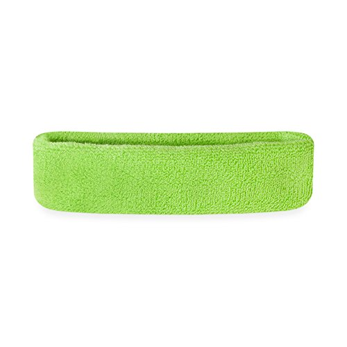 Suddora Kids Headband - Soft Terry Cloth Sports Head Sweatband for Youth Basketball, Soccer and More (Neon Green)