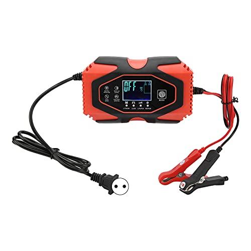 Cargador de batería de 7 Fases, reparación de Carga Lenta portátil Inteligente con función de Memoria para Motocicletas y automóviles(Enchufe Europeo 110-240V)