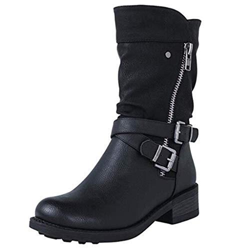 HUHU833 Damen Winterstiefel Wasserdicht Warm gefütterte Schneestiefel Winterschuhe mit Reißverschluss Winter Kurzschaft Stiefel Boots Schuhe (Schwarz, 41 EU)