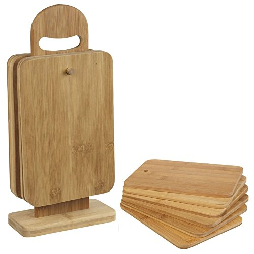 Top Home Solutions 7 pièces Planche à découper en bambou set coupe TRANCHAGE avec affichage stand fruits et légumes